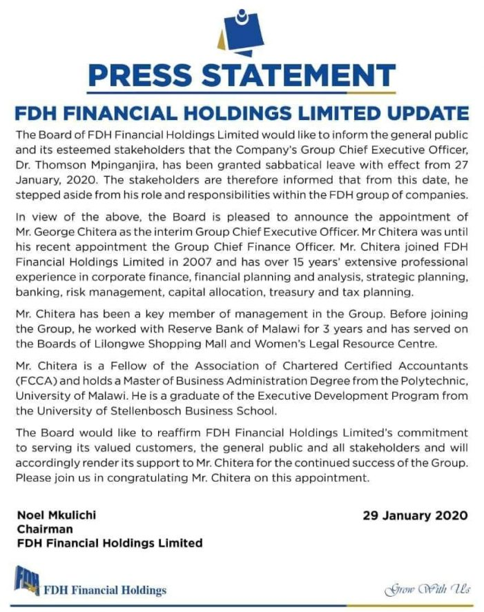 FDH CEO Thom Mpinganjira On Sabbatical Leave