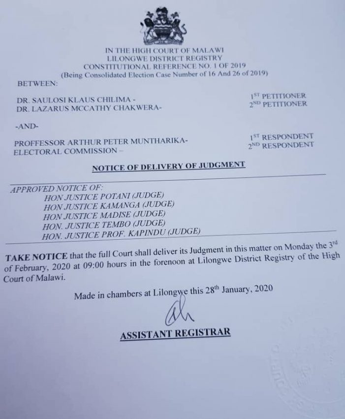 Breaking News: Electoral Case Judgement On February 3