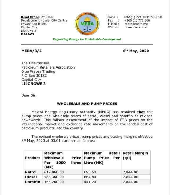 Malawi Slashes Fuel Prices