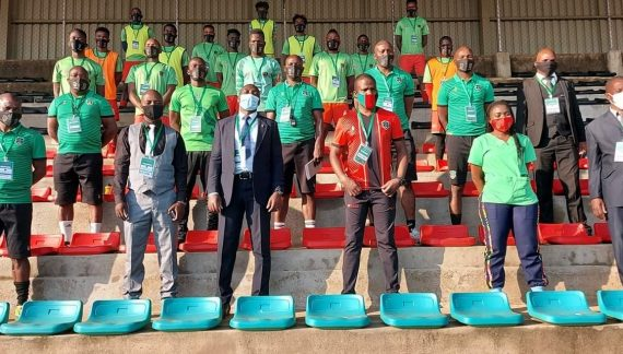 Sports Minister Msungama Visits Flames Camp…Impressed with FAM Covid-19 Measures