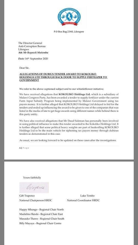 Chakwera's Kokoliko Holdings In Cashgate-Says HRDC
