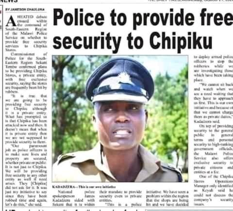 When Chipiku Stores Captures Malawi Police In  Mysterious Deal (Documents here)