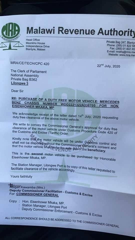 MCP SG Mkaka Orders Duty Free On Second Mercedes Benz Within 2 Weeks