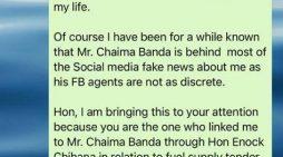 "NOCMA-GATE: ""State House Top Official Mr. Chaima Banda Wanted To Kill Helen Buluma"""