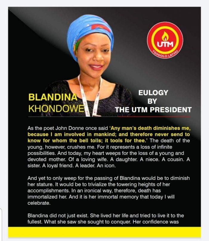 Emotional Eulogy For Blandina Khondowe By UTM President Dr. Saulos Klaus Chilima