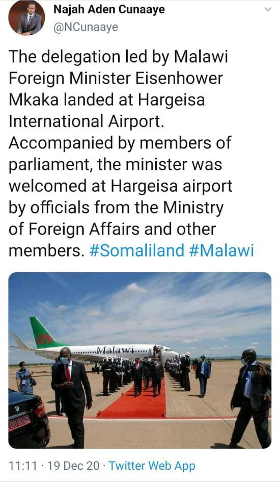 Hot headed Minister Mkaka Charters Malawi Plane for Somaliland Visit…Malawian Airlines Cancels Flights