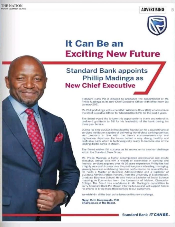 ITSANANA: Standard Bank Appoints Phillip Madinga As New CEO