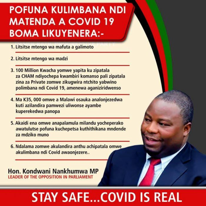 Nankhumwa Response To New Measures Instituted By President Chakwera To Combat Covid-19