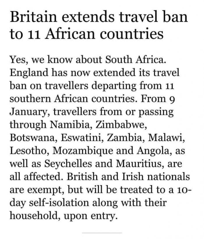 UK Extends Entry Ban to Travelers from Malawi and Other 10 African Countries for COVID Variant