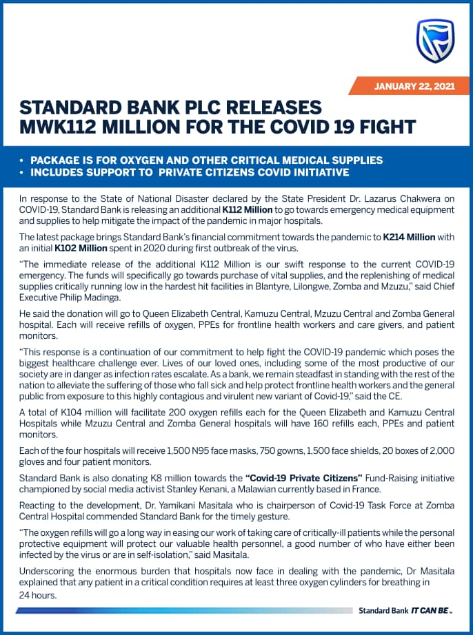 STANDARD BANK SET THE PACE: Releases K112million for Covid-19 Fight