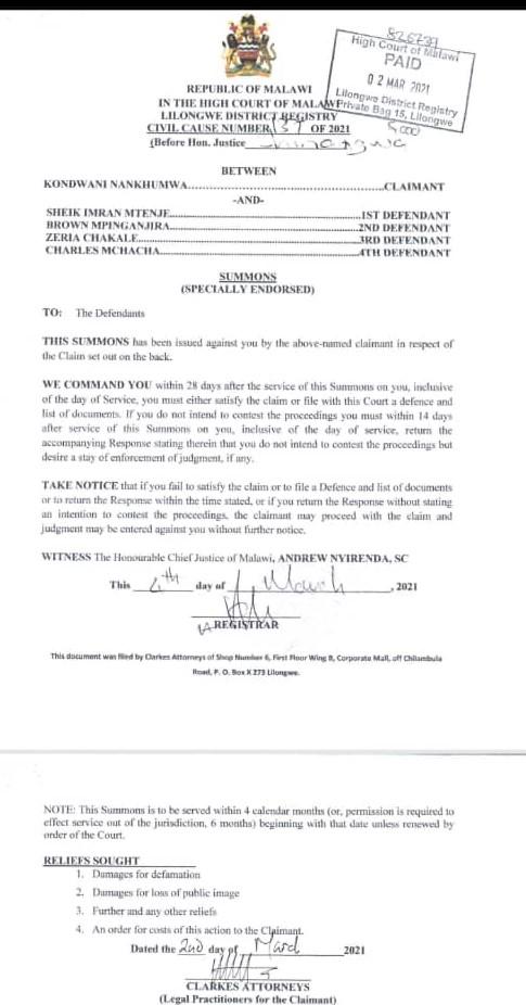 Nankhumwa Sues Mpinganjira, Mchacha, Chakale, Mtenje For Defamation