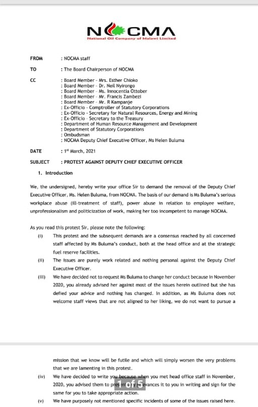 Nocma Staff Demand Helen Buluma's Removal By March 15