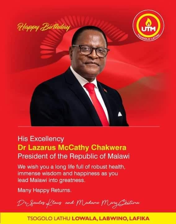 Lazarus Chakwera Turns 66, Chilima Wishes Him Long Life