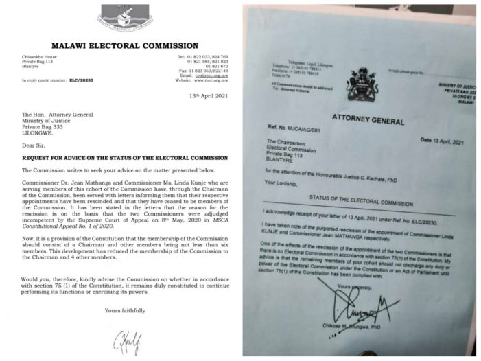 Letter From MEC Chair Dr Kachale To AG Silungwe and the Response