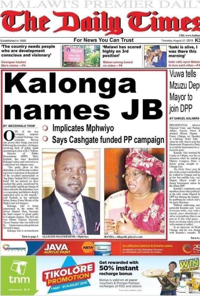Chakwera to Probe Joyce Banda Over Cashgate