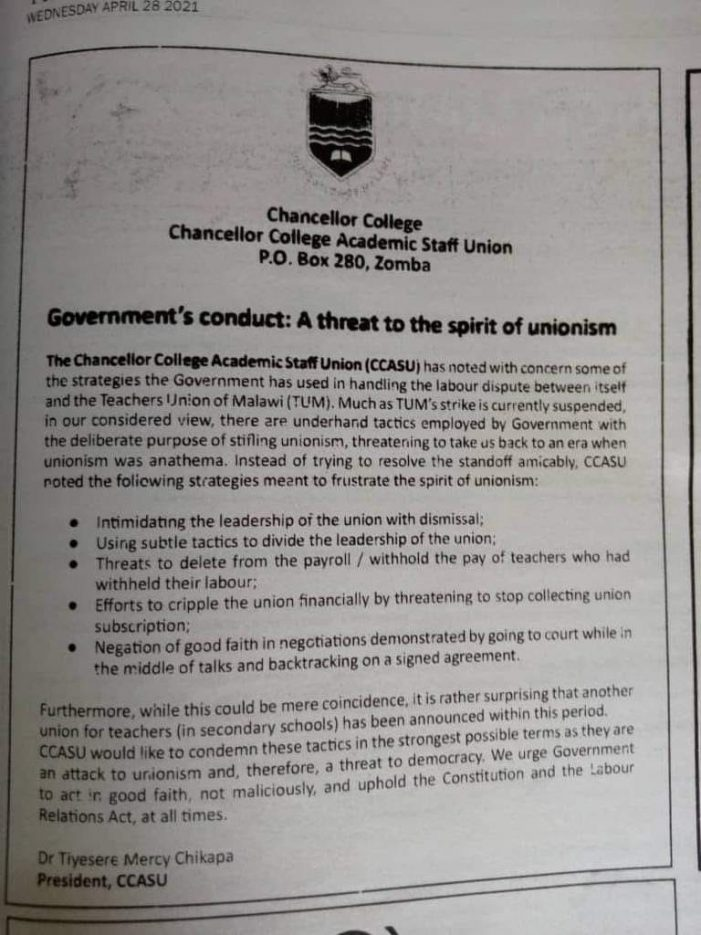Chakwera Angers Chanco Staff Union for Ill-treating Malawi Teachers…We condemn these malicious tactics
