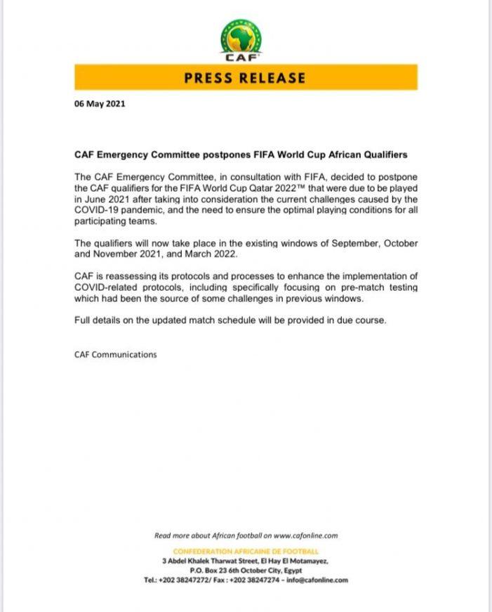 CAF Postpones World Cup African Qualifiers