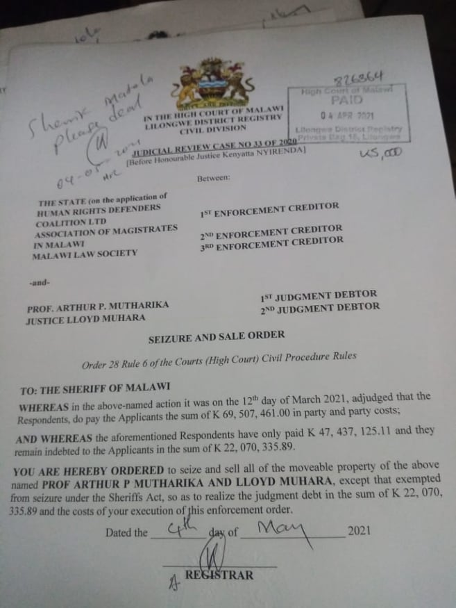 Malawi Court Orders Sheriffs To Seize and Sale APM's Movable Property