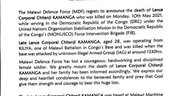 MDF Soldier Lance Corporal Chitenji Kamanga Killed In DRC