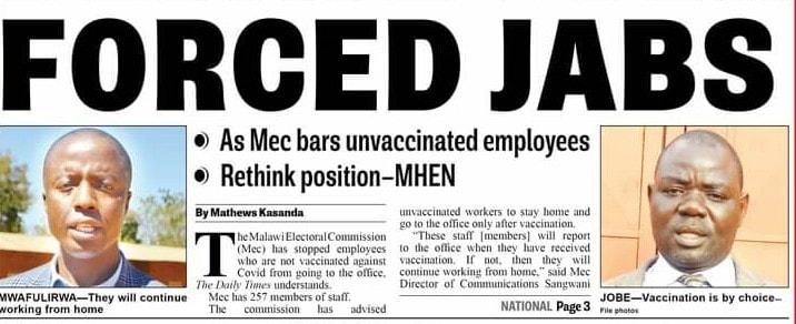 Off the wall of Rfred Manjawira: No Jabs No Jobs??…MEC Must Stop Joking