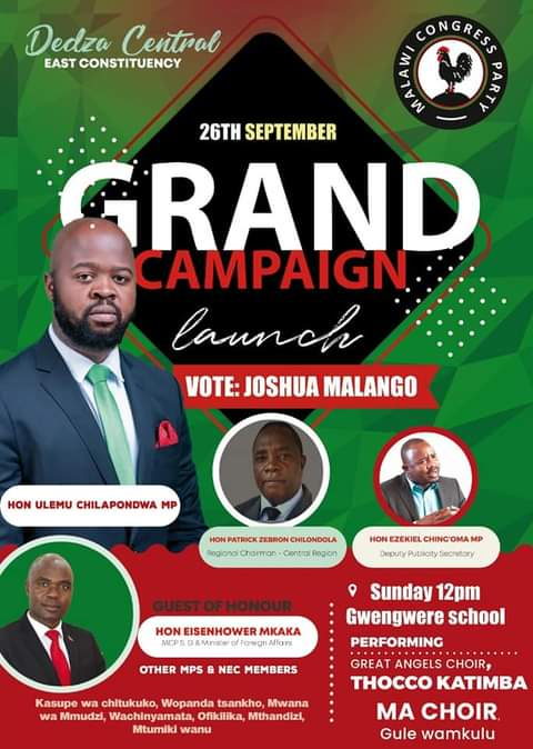MCP Heavy weights to Drum Up Support For 'Rejected Stone' Joshua Malango